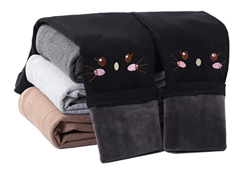 IRELIA Winter Girls Cotton Fleece Lined Leggings Pants Black M
