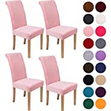 Colorxy Velvet Spandex Chair Covers for Dining Room Set of 4, Soft Stretch Chair Protectors Slipcovers, Removable and Washable, Pink