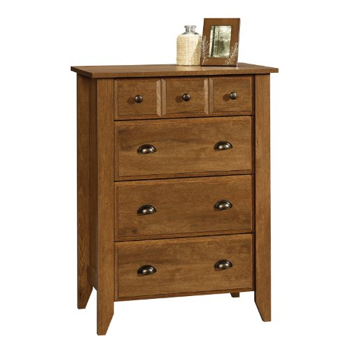 "Sauder Shoal Creek 4-Drawer Chest, Oiled Oak finish, L: 34.72"" x W: 18.58"" x H: 42.68"","