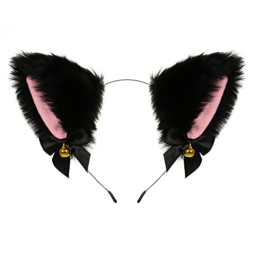 Animal Faux Fur Cat Dog Ears Headband with Bells Lovely Flexible Hair Accessory Halloween Cosplay Costume Party Dress Girls