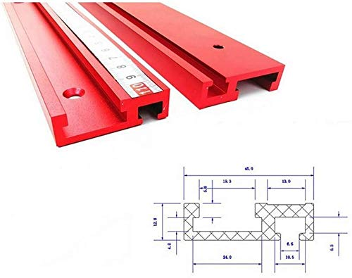 45 Typ T-Schlitz Gehrungsschiene Rote T-Schiene 45 mm Aluminiumlegierung Schienenschieber Drücker Elektrische Kreissäge Klapptisch Holzbearbeitung DIY Handwerkzeug 400 mm T-Schiene-400mm T-Spur(Upgr