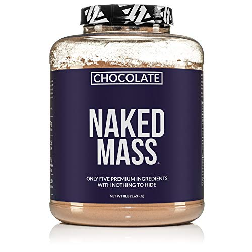 Chocolate Naked Mass - All Natural Weight Gainer Protein Powder - 8lb Bulk, GMO Free, Gluten Free & Soy Free. No Artificial Ingredients - 1,360 Calories - 11 Servings