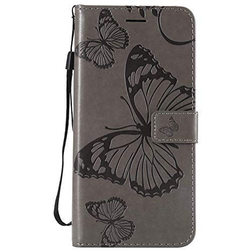 Gray Plaid Samsung Galaxy J4 Core Hülle, Gute Qualität Geprägtes Schmetterling Muster PU Leder Stand Flip Case Cover [Brieftasche] [Kartenhalter] für Samsung Galaxy J4 Core - Grau