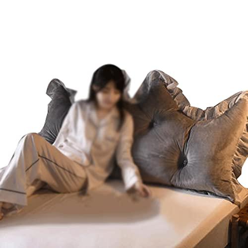 ZWDM Almohadas de lectura de algodón, cojín de apoyo lumbar, cojín de respaldo de cuña de color sólido, almohada extraíble lavable (color: gris plateado, tamaño: 1,2 x 70 cm)
