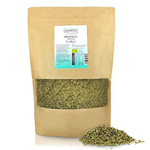 VITA NATURA Cistus Tee - Zistrosentee Bio Tee - in Zypern hergestellt - Zistrosen-Kraut - enthält Polyphenole - 250 g Packung