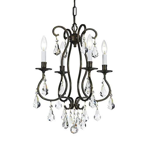 Crystorama 5014-EB-CL-S Ashton EX - Four Light Mini Chandelier, English Bronze Finish with Clear Swarovski Strass Crystal