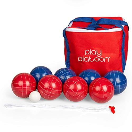Play Platoon Bocce Ball Set with 8 Balls, Pallino, Carry Bag & Rope - Red & Blue 2 to 8 Person Game