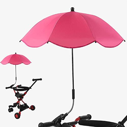Kaliove Paraguas pequeño pequeño Paraguas de Viaje a Prueba de Viento Paraguas inverso Plegable Compacto Protección UV Paraguas pequeño y Recto para niños,Rose Red