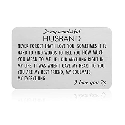 Engraved Wallet Insert Card Anniversary Birthday Gifts for Husband Boyfriend Groom Fiance Wedding Valentines Gift from Wife Girlfriend
