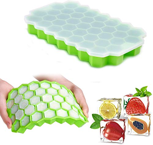 Honeycomb Ice Cube Tray, 37 Lattice Food Grade Silicone Ice Cube Maker Mould with Lids Reusable Easily Removable Drinking Tray Mould for Ice Cream Party Cold Drink Whiskey Cocktail Beer