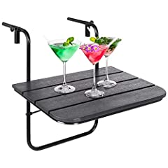 ADJUSTABLE DESIGN: Made to fit any deck, patio, or balcony railing, this hanging table has a secure metal clamp on each side that loosens and tightens for easy size adjustment SPACE-SAVING: Takes up very little floor space while in use and folds down...