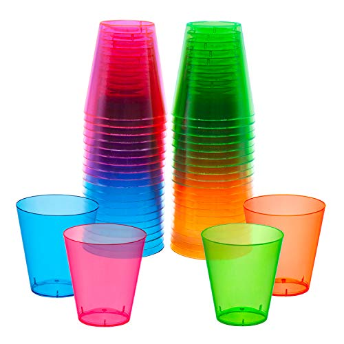 Party Essentials N24090 Hard Plastic Shot/Shooter Glasses, 40-Count, 2-Ounce, Assorted Neon