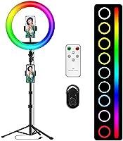 """Light Ring for Mobile 12"""" RGB LED Ring Light avec de trépied 170cm, LED Anneau Lumiere, 10 Niveaux Luminosité Lumiere..."""