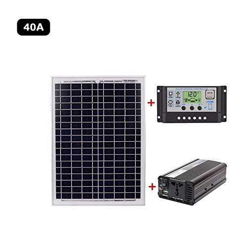 Systeemkit op zonne-energie, 20 watt zonnepaneel + 60 A-zonnelaadregelaar + 1500 W omvormer DC 12 V tot AC220 V voor voertuigen, boten en netonafhankelijke batterijsystemen 40 A.
