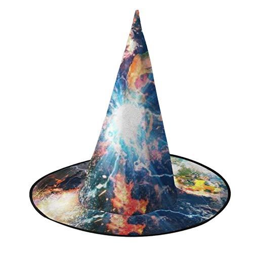 TYHG - Gorro de bruja unisex para Halloween, accesorio para disfraz en 3D, la Tierra en galaxia, Halloween, cosplay, decoracin de fiesta, para mujeres y nias, color negro