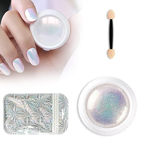 HGFG Holografische nagel poeder zeemeermin, Shell poeder nagels, Chrome Nail Powder Mirror Effect, Zeemeermin Pearly Rainbow kleurrijke effecten, Nail Art poeder Kit