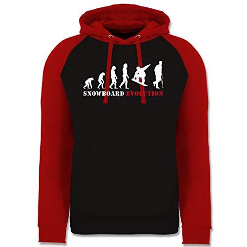 Shirtracer Evolution - Snowboard Evolution Verletzung - S - Schwarz/Rot - Herren Hoodie schwarz - JH009 - Baseball Hoodie