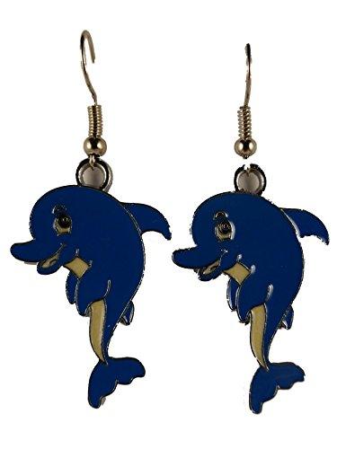 Ohrringe Ohrhänger Hänger silberfarben Delfin Meer Wasser Aquarium Fisch 7966