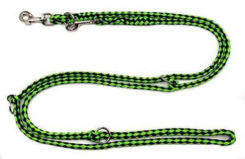 elropet Hundeleine Doppelleine Übungsleine Führleine für mittlere Hunde bis 45 Kg über 39 Farben sehr stabil (2,80 m, Schwarz-Grün)