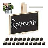 Relaxdays Tafelklammern, 20er Set, zum Beschriften, wiederverwendbar, inkl. Kreide, Pflanzschilder, Holz, Natur/schwarz, Pack