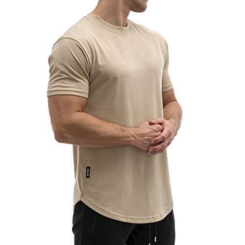 Sixlab Round Tech Herren Oversize T-Shirt Muscle Basic Gym Fitness Shirt (Sand, L)