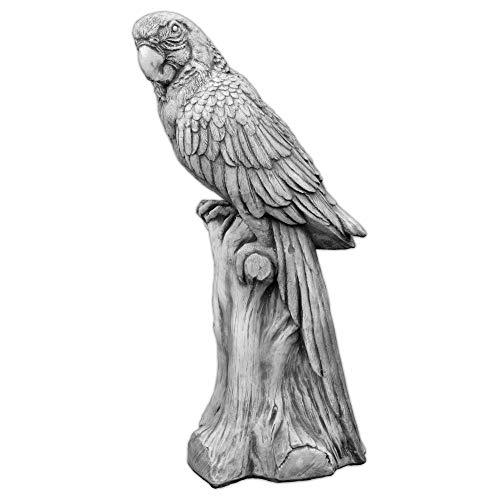 gartendekoparadies.de Massive Steinfigur großer Papagei Vogel aus Steinguss frostfest