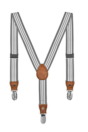 Baby Kinder Hosenträger Streifen Gürtel Elastisch Leder 3 Clips Jungen Mädchen Hosen Röcke Tutu Shorts Bequem Träger - Grau Weiß