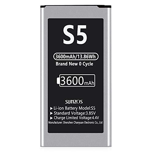SUNZOS Akku für Samsung Galaxy S5 3600mAh (2020 Upgrade, 28,5% mehr Kapazität) Ersatz Original EB-BG900 SM-G900F Batterie Accu - 36 Monate Garantie
