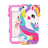 Coralogo Case Compatible for iPod Touch 7/6/5, Cute Animal Cartoon Fashion Soft Cover Shockproof Shell Girls Women, Cool Fun Funny Silicone Protective Cases Skin for iTouch 5/6/7 (Pink Vivid Unicorn
