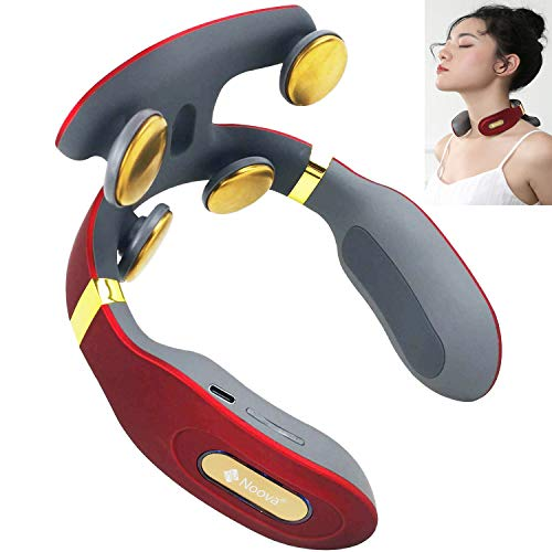 Noova 4D Intelligent Neck and Shoulder Portable Massager with Copper Head and Heat, Smart Personal Cordless Pulse Pain Relief Equipment, Best Gifts for Men Women Dad Mom Husband Wife (Red)