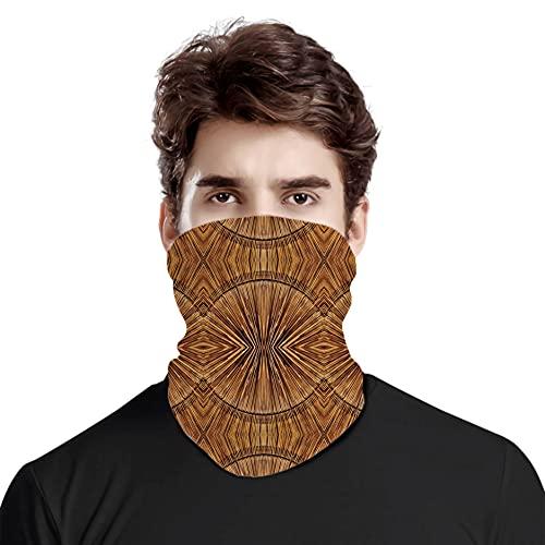 FULIYA Gran cara cubierta bufanda protección cuello, patrón de bambú primitivo oriental étnico antiguo estilo de madera dentada impresión artística, variedad bufanda de cabeza unisex