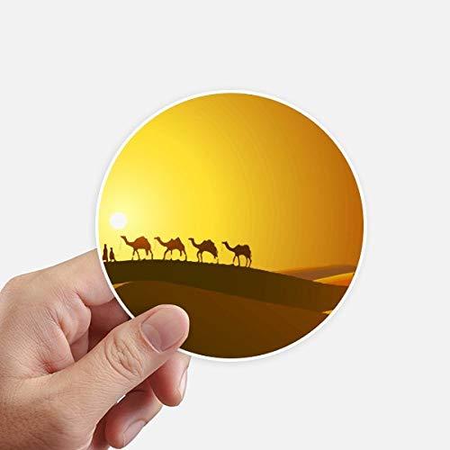 DIYthinker Sunset All The Way to The Round Silk Road Camel désert Autocollants 10CM Mur Valise pour Ordinateur Portable Motobike Decal 8Pcs diamètre 10cm Multicolor