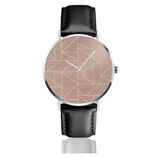 Alexis reloj de cuarzo de acero inoxidable con correa de cuero de acero inoxidable
