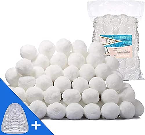 TATUNER Filterballs 700g-1400g,ersetzen 25/50 kg Filtersand,filterbälle für Schwimmbad, Filterpumpe, Aquarium Sandfilter (2100g)