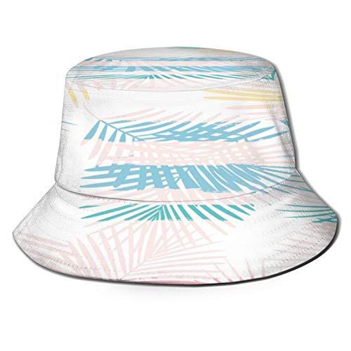 YZBEDSET Sombrero Pescador Unisex,Fondo de Selva Floral de Hojas de Palma Femenino,Plegable Sombrero de Pesca Aire Libre Sombrero Bucket Hat para Excursionismo Cámping De Viaje Pescar