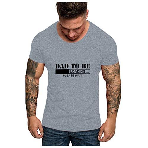 Yowablo T-Shirts Hauts Chemisier Hommes Fête des Pères O Cou Imprimé Manches Courtes (XL,7Gris)