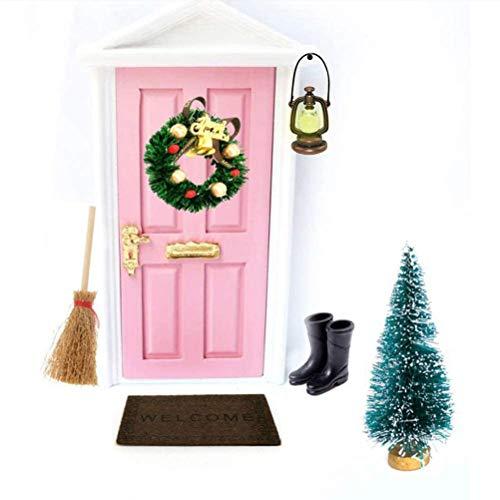 KENANLAN Wichteltür Weihnachten Set Miniatur Wichtel Set Wichtel Tür Nissedor mit Zubehör Stiefel Laterne Weihnachtsbaum Dekokranz Holzleiter Wichtelbesen Zuckerstange Verzierungen für Weihnachten