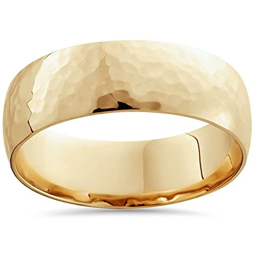 7mm 14K Yellow Gold High Polished Hammered Mens Wedding Band - Size 9.5