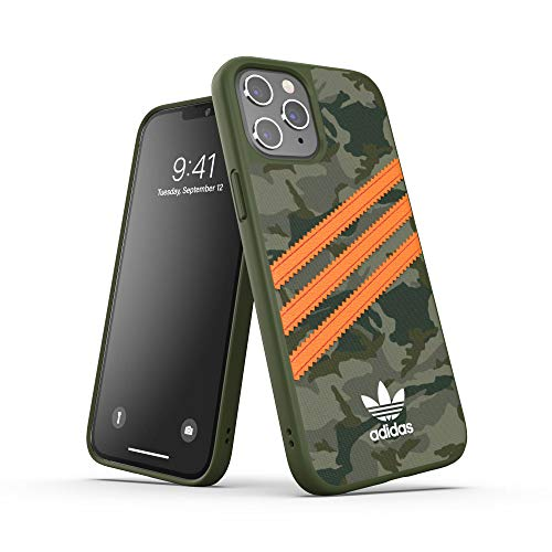 adidas Custodia progettata per iPhone 12 Pro Max 6.7, cover testate a caduta, bordi rialzati antiurto originale, motivo mimetico/arancione