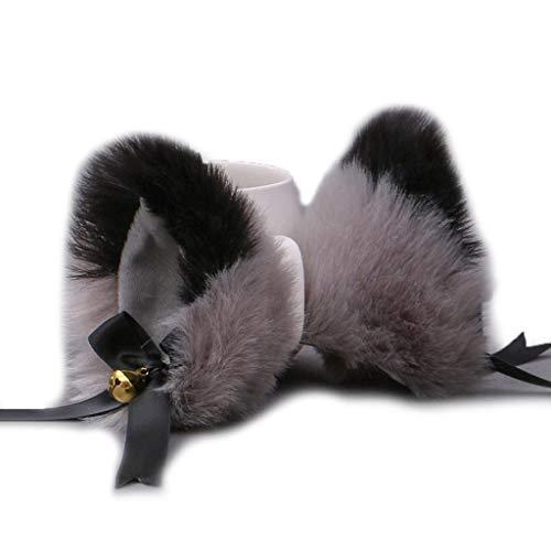 GREEN&RARE Pinzas para el pelo japonesas para mujeres y niñas, lindas orejas de gato peludas con lazo campana, pasador, para disfraz de cosplay, fiesta, 1 par