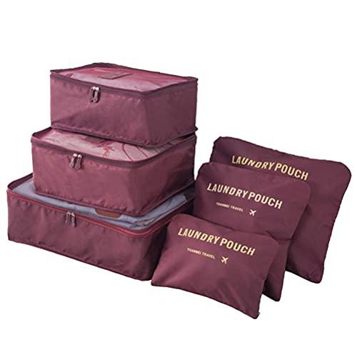 EURYTKS Mochila Ligera, Organizador de Viaje Bolsas de Embalaje para Ropa Interior, 6 Piezas Maleta Organizador Bolsas Bolsas de Equipaje de Viaje Bolsas de Almacenamiento de Viaje Cubos de Embalaje