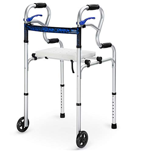 """Health Line 4 in 1 Stand-Assist Folding Walker with Detachable Seat, Trigger Release and 5"""" Wheels Supports up to 350 lbs, Compact Lightweight & Portable - w/Bonus Glides, Silver"""