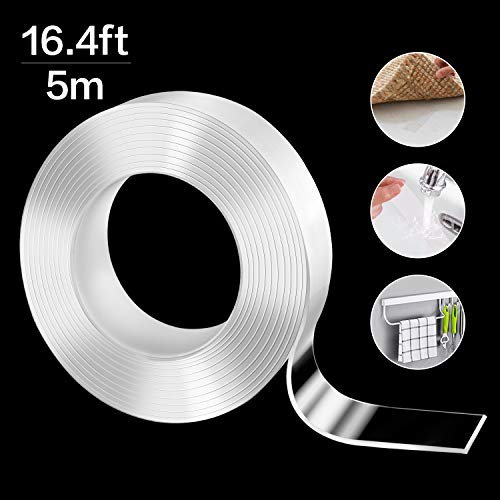 Cinta adhesiva de doble cara extrafuerte, 5 m, lavable, sin dejar rastro, cinta adhesiva multifunción, cinta adhesiva reutilizable de doble cara