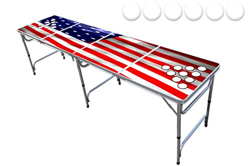 PartyPongTables.com 8-Foot Beer Pong Table w/Cup Holes - USA Edition