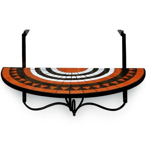 Deuba Table de Balcon Tablette Suspendue 76 x 40cm en mosaique Motif Roman Sun