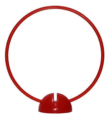 Agility Sport pour Chiens - Socle Multi-Fonctions remplissable avec Cerceau Ø ca. 50 cm, Couleur: Rouge - 1x xsR50r