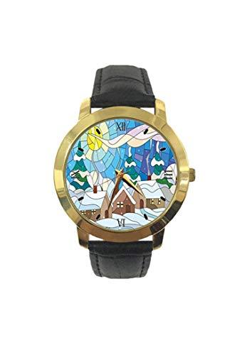 Reloj de Pulsera de Cuarzo con Correa de Cuero para Ocio, Inspirado en el Arte de vidriera con el Clima frío nevado y Las chimeneas de Fumar