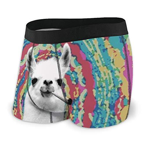 LAOLUCKY Laollucky Boxershorts Llama Smoking Weed Tie Dye Boxershorts für Herren Jungen Gr. XXL, Schwarz