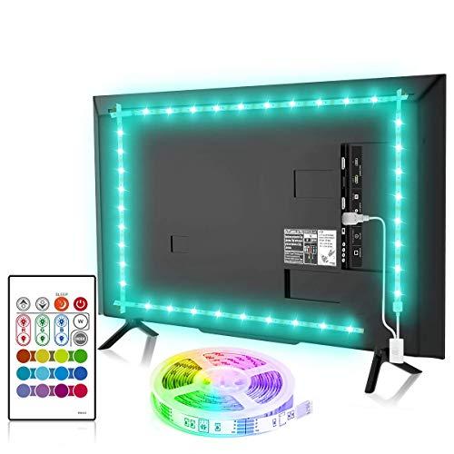 Bason TV LED Backlight, 6.56ft Led Lights for TV 32-58 inch, USB Led Strip Mood Light with 4096 DIY Colors Remote Control, TV Lights Behind for Gaming Room Lights, TV Bias Light Kit.