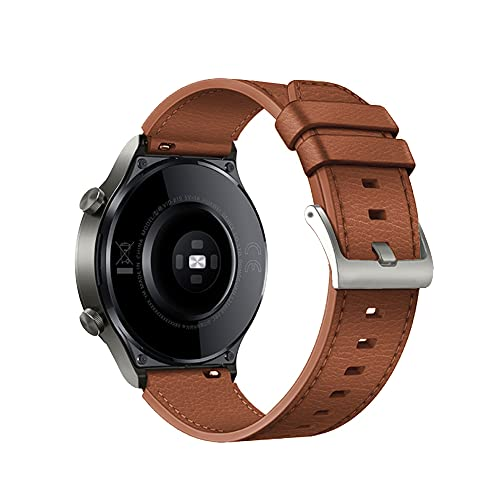 TopTen Correa de reloj de 22 mm compatible con HUAWEI WATCH GT2 Pro/GT 2e/GT 46mm/GT2 46mm/GT Active/Watch 2 Pro correa, correa de cuero de repuesto (marrón)